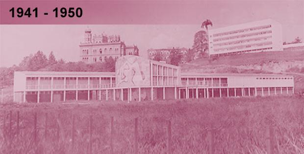 Imagem esmaecida em tons de liás, do núcleo modernista da Fiocruz visto de longe