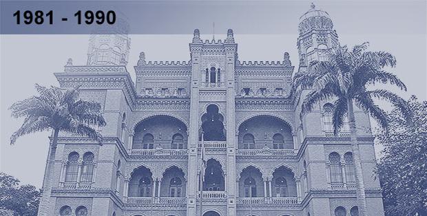 Imagem esmaecida em tons azulados da fachada do castelo da Fiocruz